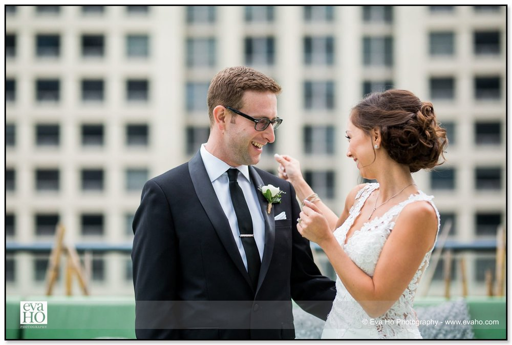Bride and Groom's first look at a River North wedding