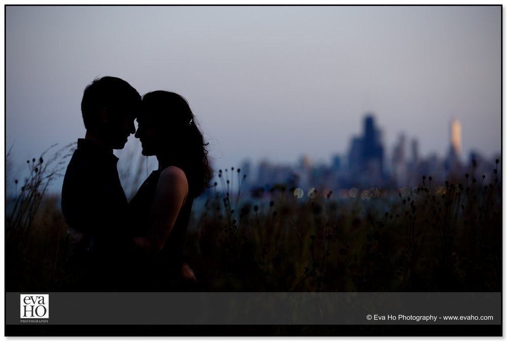 Silhouette portrait with the city of Chicago in the background