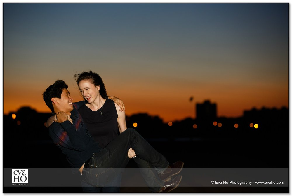 Flash photography for an evening engagement and proposal session at Montrose Harbor