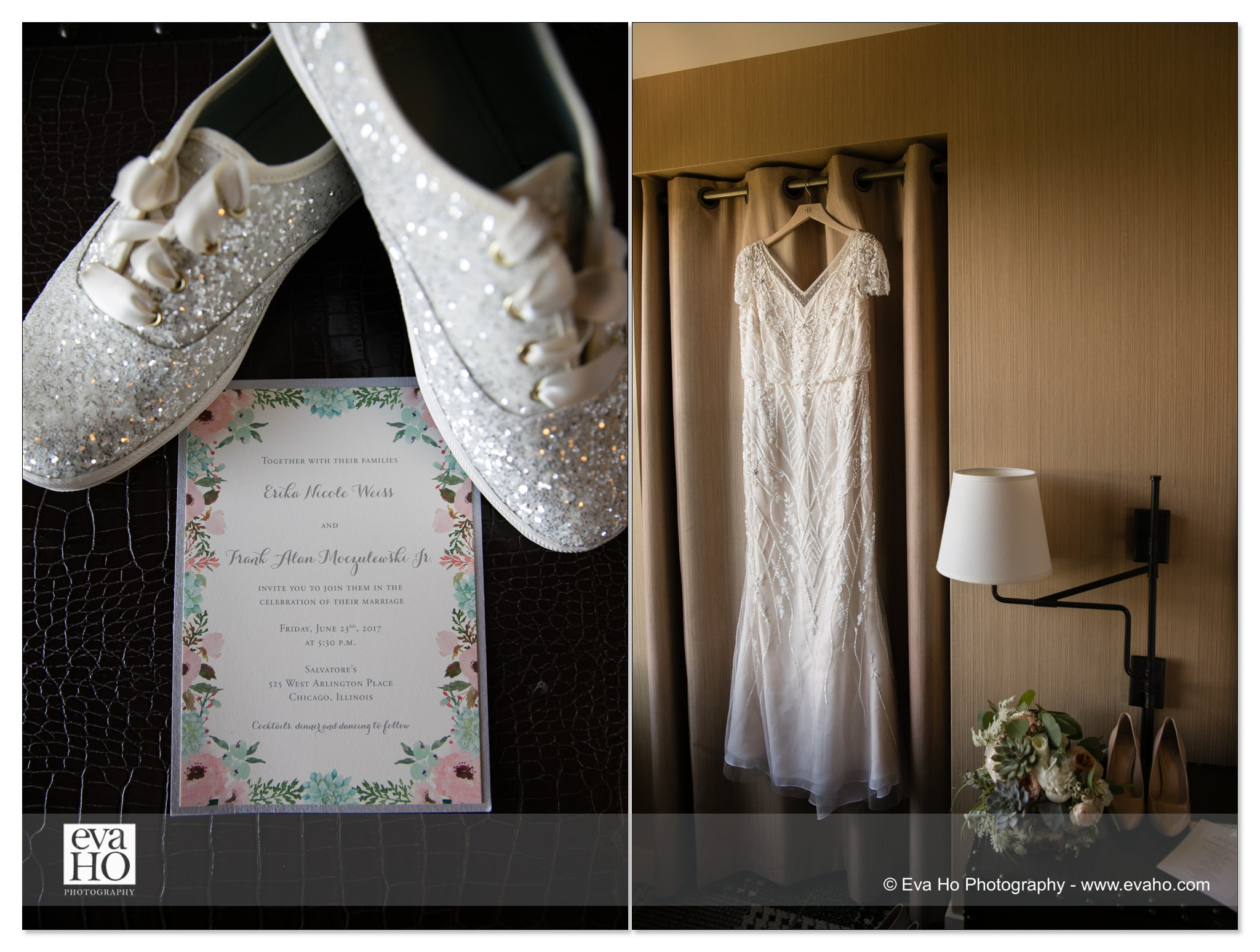 Bride's sparkly sneakers & dress