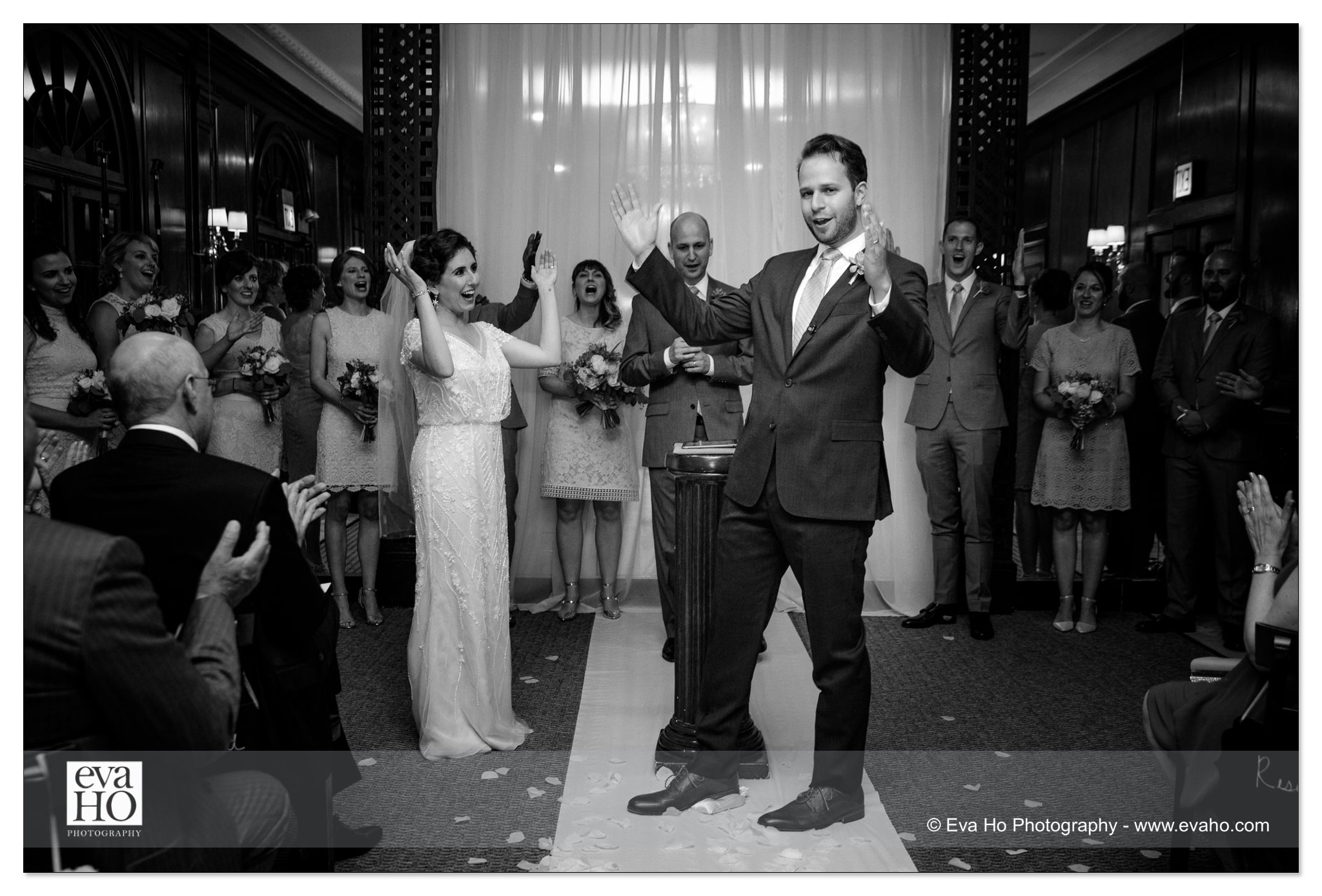 Bride and groom cheer