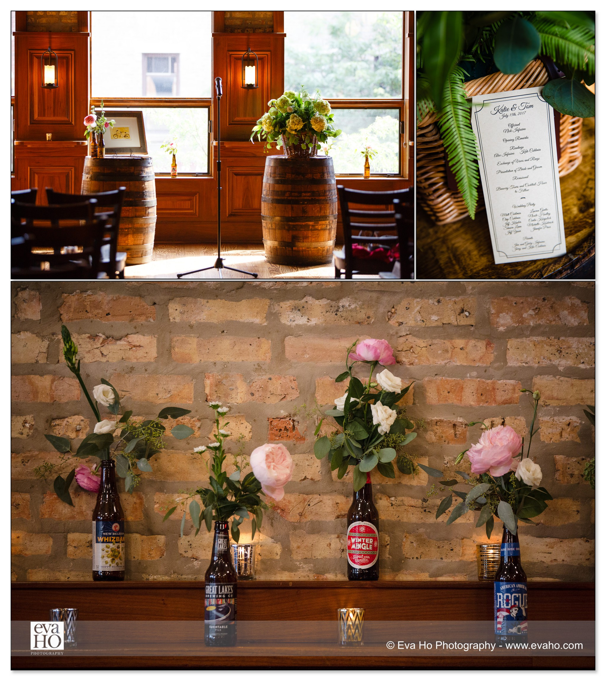 Reception details at Revolution Brewing Wedding