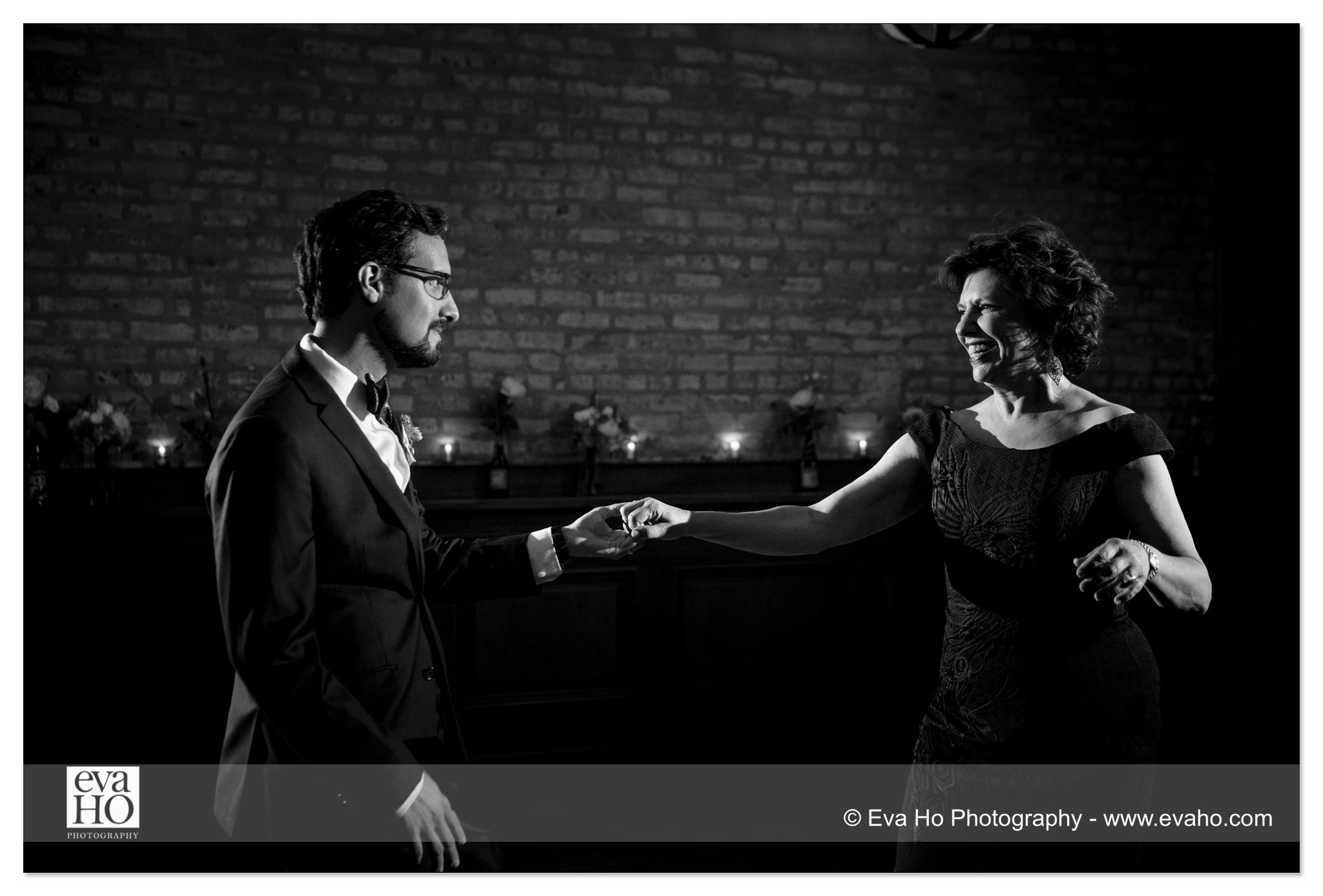 Son and mom dance