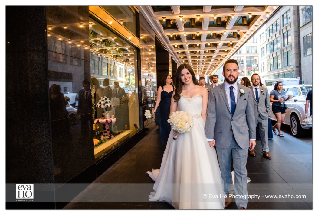 Bride and Groom walk around downtown Chicago